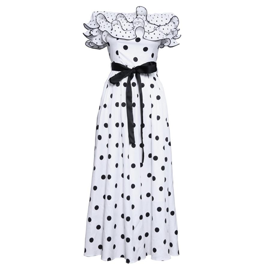 VERDEJULIAY الفاخرة أنيقة النساء اللباس 2019 الصيف أزياء البولكا نقطة طباعة الكشكشة خليط القوس الأبيض مطوي طويل أسود اللباس-في فساتين من ملابس نسائية على  مجموعة 1