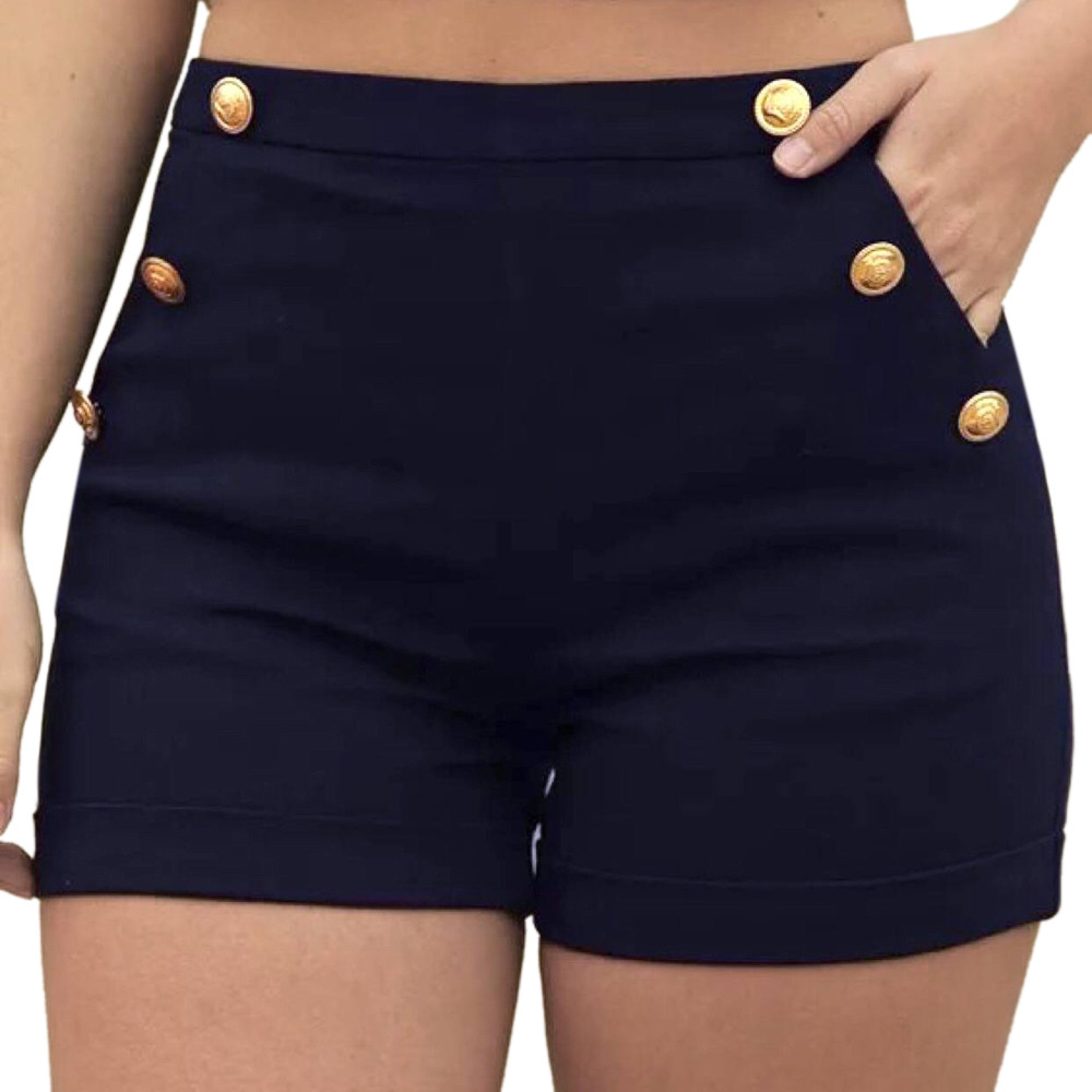 Hot Shorts Polyester High-Waist Fashion Plus-Size Women's Casual Feminino S-5XL Zipper
