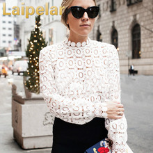 Elegant Floral Lace Blouse Shirt Women Lantern Sleeve White Blouse Spring Hollow Out Tops Blouse Blusas Laipelar Autumn Top pink lantern sleeves hollow out lace blouse