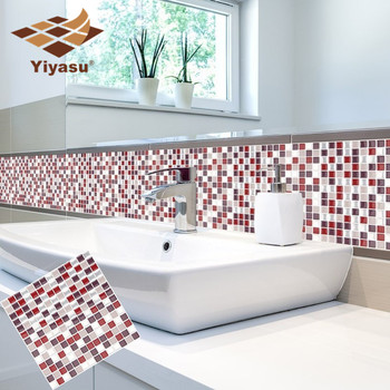 Self Adhesive Mosaic Tile Wall decal Sticker DIY Kitchen Bathroom Home Decor Vinyl W5 1