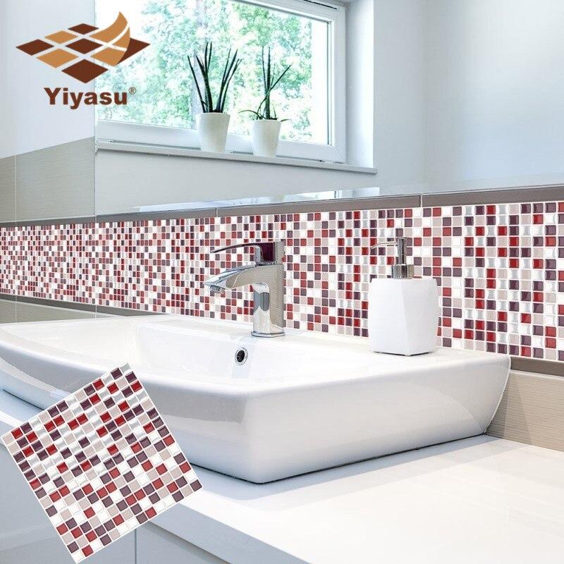 US $3.65 39% OFF Self Adhesive Mosaic Fliesen Wand aufkleber Aufkleber DIY  Küche Bad Home Decor Vinyl W5-in Wandaufkleber aus Heim und Garten bei ...