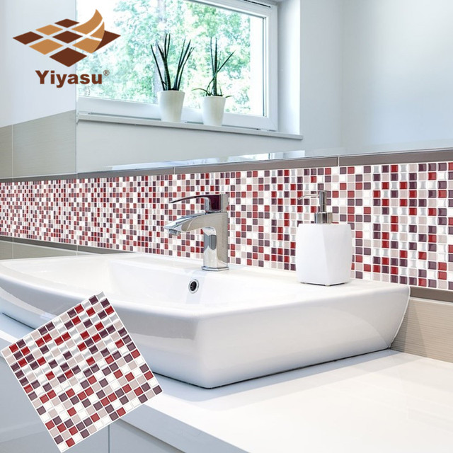 Self Adhesive Mosaic Tile Wall decal Sticker DIY Kitchen Bathroom Home Decor Vinyl W5