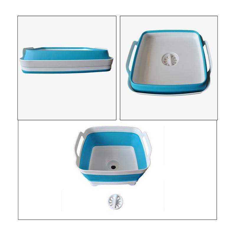 Folding Square Fruit Vegetable Washing Washbasin Storage Basket Kitchen Outdoor Travel Supply J2Y