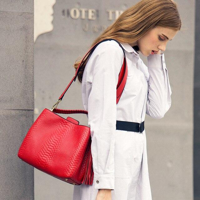 Piccola borsa a tracolla per le donne borse a tracolla delle signore retro del cuoio genuino della borsa della borsa con nappe femminile crossbody bag - 5