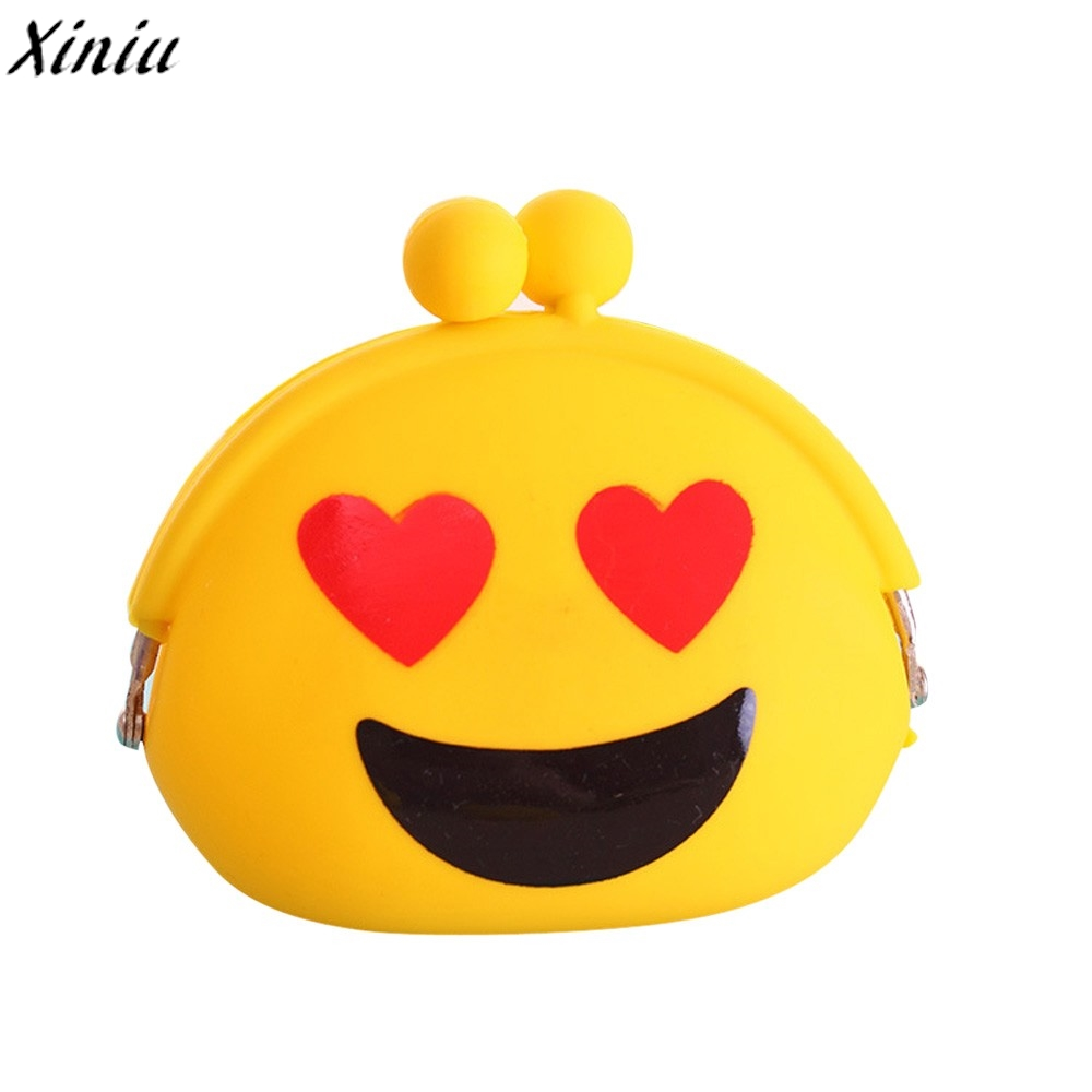 Women Silicone Jelly Coin Purse Emoji Mini Wallet Hasp Change Bag for Girl and Children Key Pouch Bozuk Para Kesesi #7921
