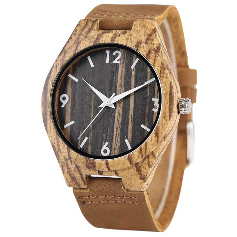 Top Gifts Creative Stripe Dial Wooden Watch Male Fashion Bamboo Analog Quartz Wristwatch Time Genuine Leather Natural Wood Clock unique handmade natural bamboo wood watch analog mens simple quartz wristwatch male genuine leather relogio masculino esportivo
