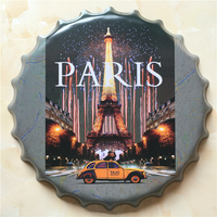 PARIS Large Beer Cover Tin Sign Logo Plaque Vintage Metal Painting Wall Sticker Iron Sign Bar KTV Store Decorative 40X40 CM