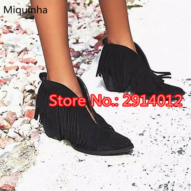 02d62ae97bd Retro Black Booties Suede Leather Fringe V Cut-Outs Ankle Boots Tassel  Pointed Toe Stacked Spikes Heels Slip-On Motorcycle Boots