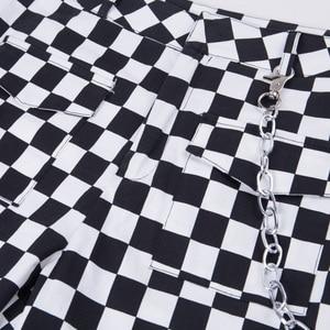 Image 5 - Instahot Plaid Rits Gothic Broek Vrouwen Hoge Taille Casual Streetwear Treousers 2020 Cargo Broek Herfst Pantalones Met Ketting