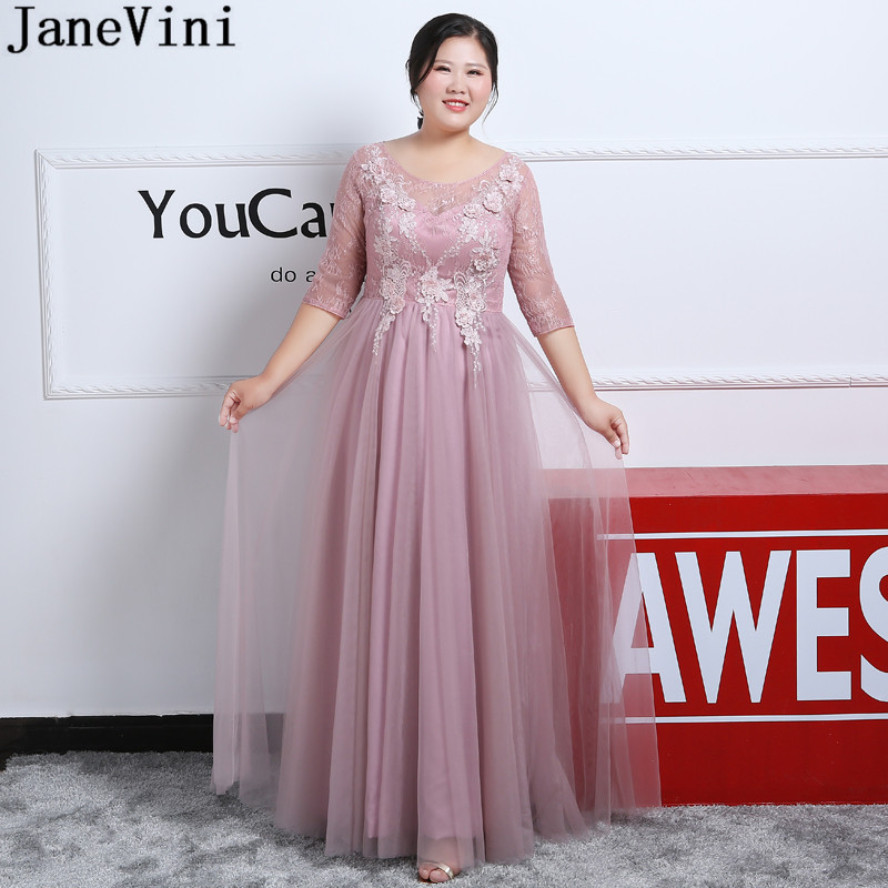 US $109.9 45% OFF|JaneVini 2019 Dusty Pink Evening Dress Plus Size Mother  of the Bride Dresses With Sleeve Lace Appliques Tulle Formal Mother Gown-in  ...