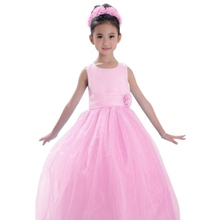 Newest Summer Style Lovely Sweet Girl Sleeveless Ball Gown Princess Party Dresses Tulle Beach Wedding Dress