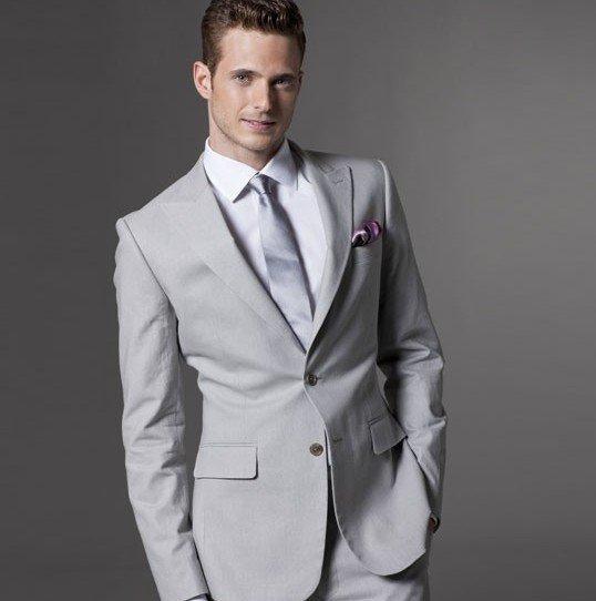 Wholes Free Shipping Custom Made Men Fashion Suit Light Gray Wool