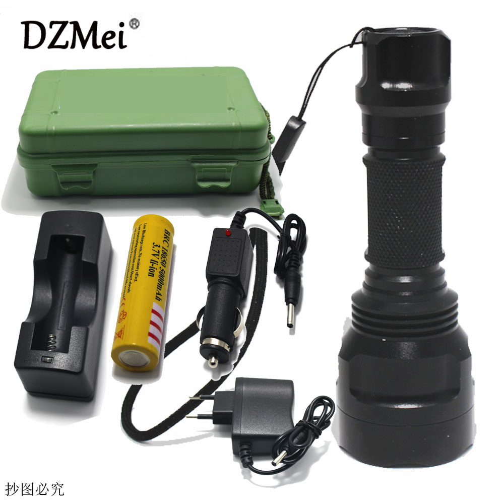 CREE C8 8000 lumens cree xml t6 L2 high power led flashlight +DC/Car Charger+1*18650 battery+Holster LED Torch Light Lamp cree xml t6 3000lm adjustable led flashlight led torch car charger battery charger 18650 rechargeable battery holster zk10