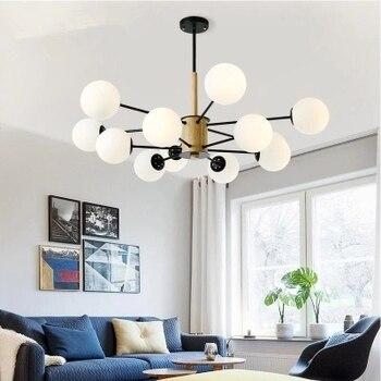 Adjustable Lustre LED Chandelier For Living Room Wood Hanging Lights Lustres para sala de jantar Dining Lighting Fixtures