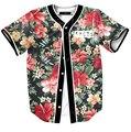 Estilo del verano camisas del mens tops flores impresión completa camisetas de béisbol harajuku corto manga floral streetwear camisas envío gratis