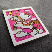 New 5D Diy Diamond Painting Kitty Cat On Horse Diamond Embroidery Full Round Diamond Shinestone 30