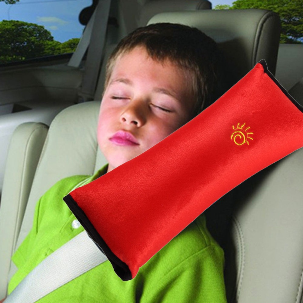 baby auto soft car pillow for kids red color safety belt protect vehicle shoulder cushion pad