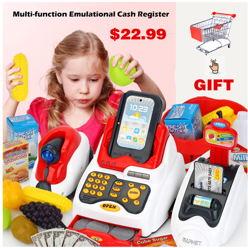 Children Multi-function Emulational Supermarket Cash Register Kits Pretend & Play Toys  Kids Logical Thinking Ability Develop