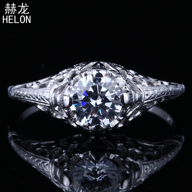 Sparkling 1.2ct Flawless Cubic Zirconia Sterling Silver 925 Engagement Wedding Vintage Antique Jewelry Ring Setting Round 5.5mm