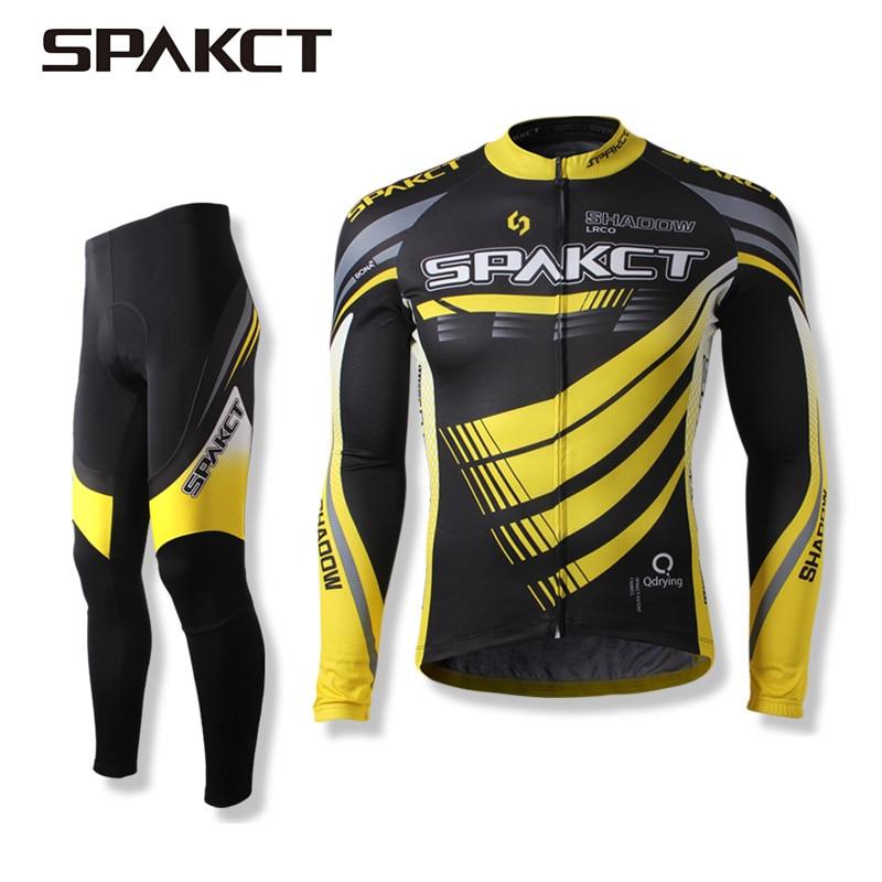 цена на Spakct Cycling Jerseys Tights Suit Clothing MTB Bike Jersey Long Sleeve Set 2017 Men Summer Quick Dry Cycling Ciclismo Shorts