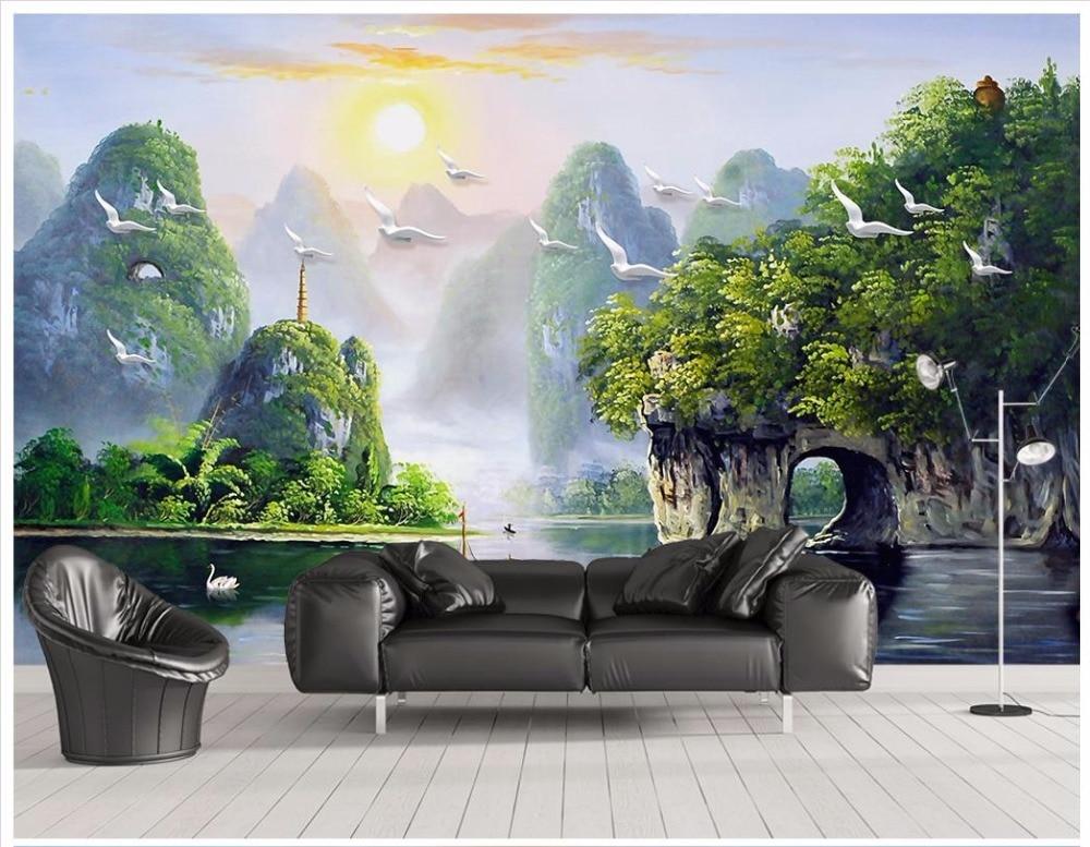 3D Wall Murals Wallpaper Custom Photo Wallpaper Mural Chinese Hand Painted Guilin Landscape