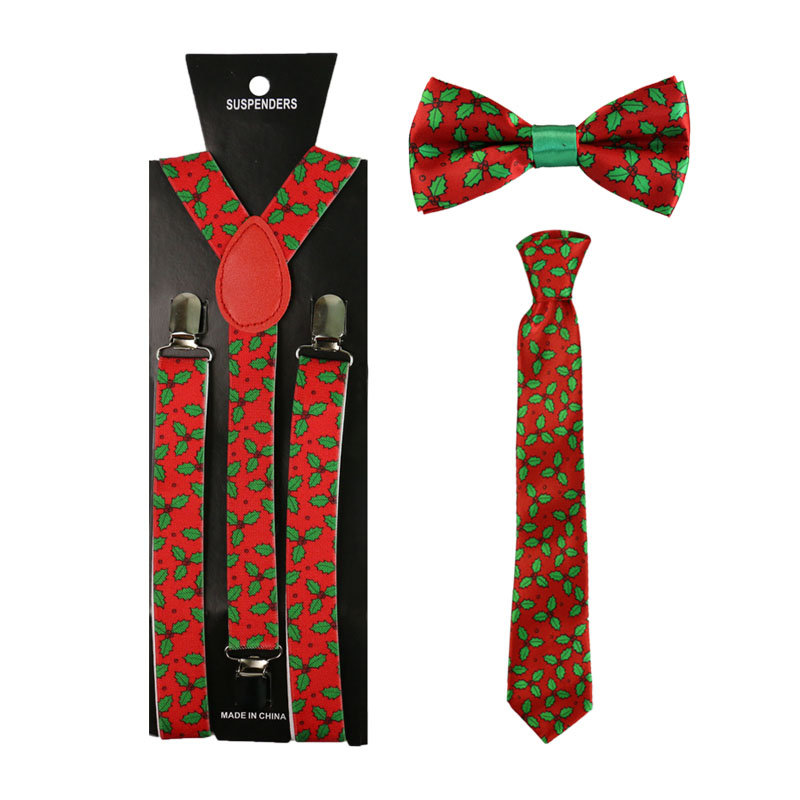 Winfox Red Leaf Print Suspenders Bowtie Neck Tie Set Women Men Braces Suspensorio