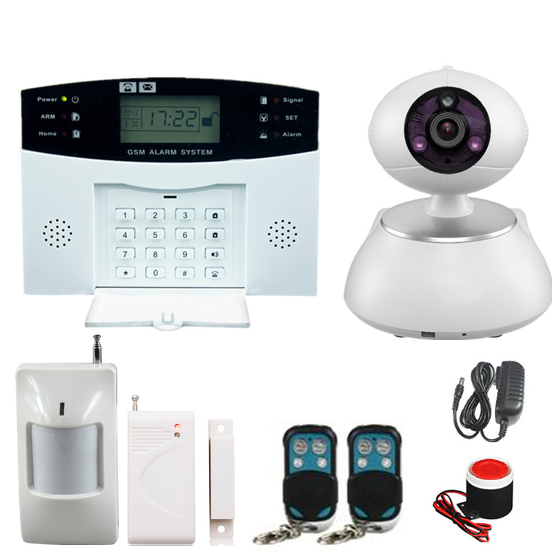 GSM SMS Home Burglar Security Gsm Alarm System Detector Sensor Kit Remote Control Russian French Spanish lanuage with IP Camera gsm lcd wireless 433 smart burglar security alarm system detector sensor kit remote control auto dial sms outdoor siren