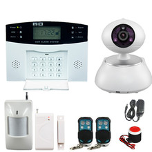 GSM SMS Home Burglar Security Gsm Alarm System Detector Sensor Kit Remote Control Russian French Spanish lanuage with IP Camera