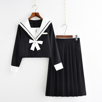 Autumn Japanese Uniforms Navy Sailor Suit For Women Kansai Students Long Sleeve Costume  School Uniform For Girls christal whelan kansai cool