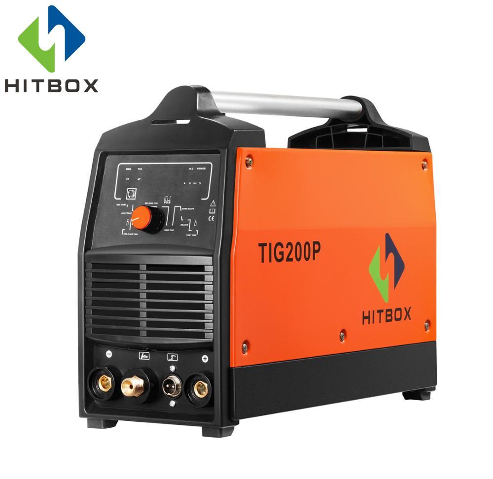 HITBOX Funcional TIG200 Com Pulso TIG MMA Soldador De Gás Digital Ferramenta de Soldadura Do Inversor Máquina De Solda TIG 220 v Com Portátil tamanho