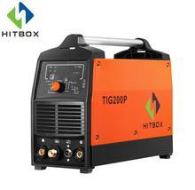HITBOX функциональные газосварщик TIG200 с импульсным TIG MMA цифровой TIG сварочный аппарат 220 В инвертор сварочный инструмент с Портативный размеры