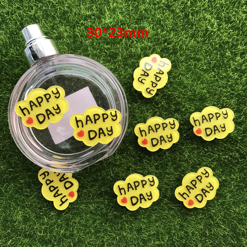10pcs/lot happy DAY Flatback Resin Expression Face Planar Resin Craft for DIY Home Decoration Accessories pendant