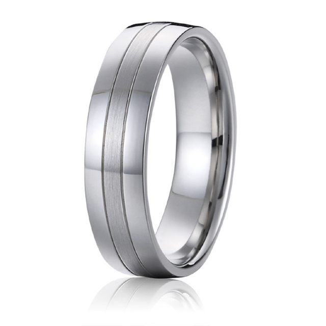 titanium jewelry wedding band mens anniversary ring husband boyfriend gift white gold silver color 6mm promise
