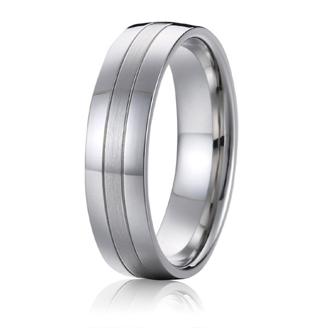 Wedding Band Titanium Men Ring white gold silver color handmade 6mm