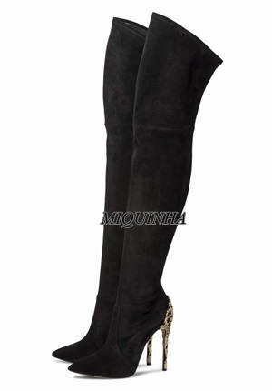 elegant black nubuck leather thigh high long boots metal decoration branches pointed toe patchwork shoes thin high heel boots