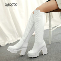 Women Shoes Winter Plush Square High Heel Knee High Boots Fashion Platform Zipper Boots Round Toe Snow Boots White Black 2019