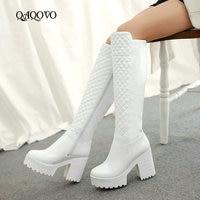 Women Shoes Winter Plush Square High Heel Knee High Boots Fashion Platform Zipper Boots Round Toe Snow Boots White Black 2019
