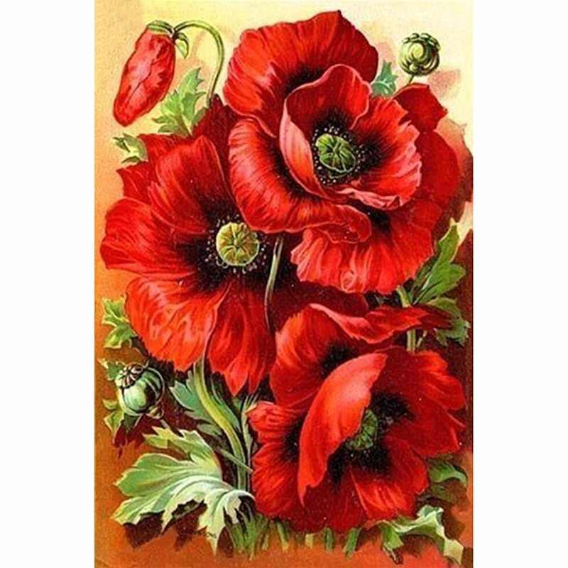 5D DIY Diamond Painting Red Poppies Embroidery Full Square Diamond Cross Stitch Rhinestone Mosaic Painting Home Decor Gift