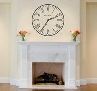 Clock With Surname Wall Sticker Home Decor Living Room Bedroom Vnyl Black Wall Art Decals Adesivo