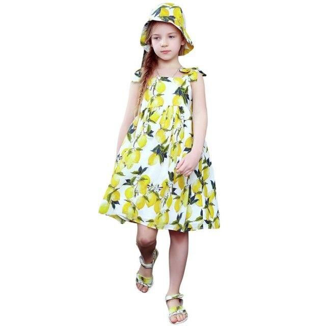 e77e3c78046 Sunflower Girls Summer Dress Kids Clothes Children Princess Lemon Print  Pattern Baby Girls Dresses H78