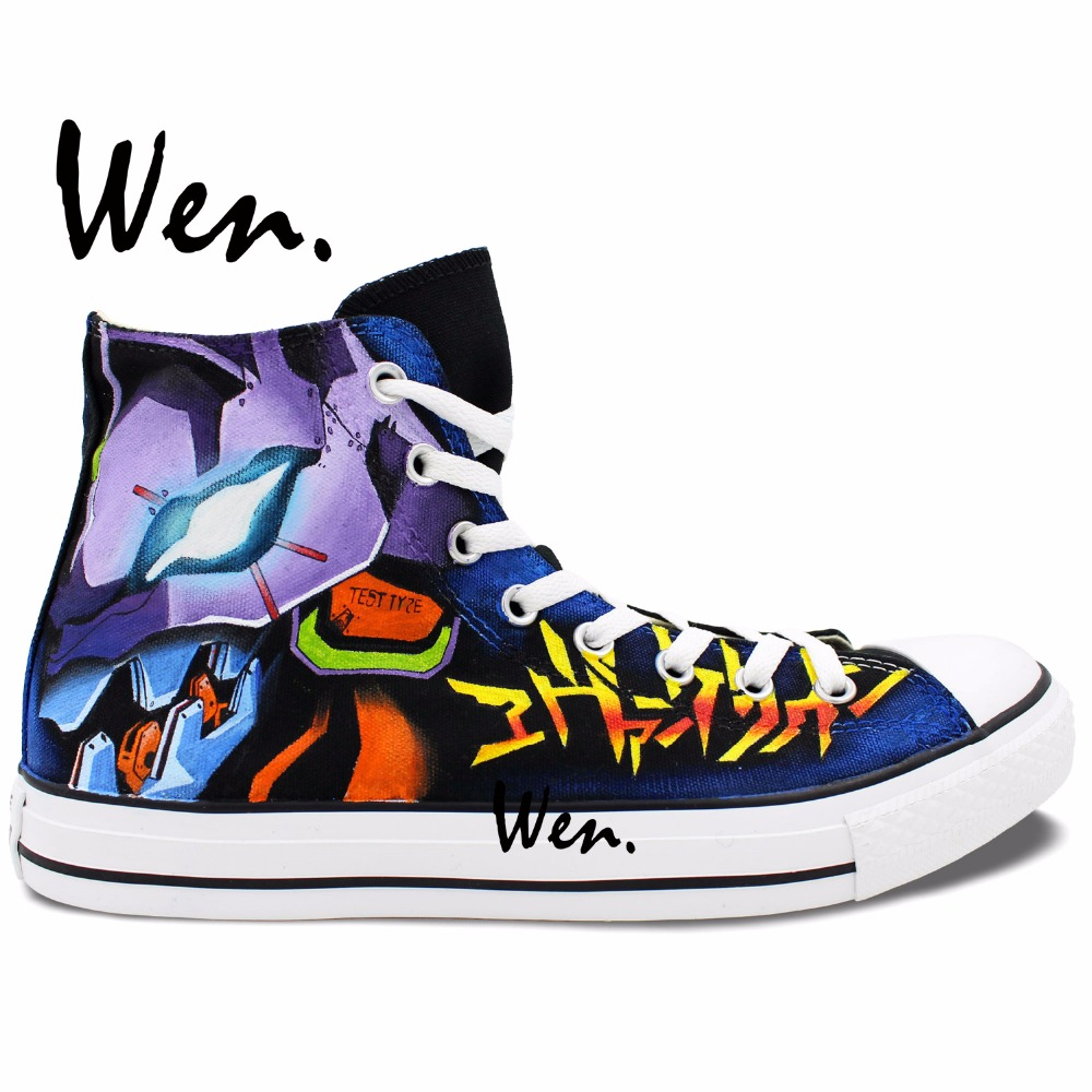 Wen Anime Design Custom Hand Painted font b Shoes b font Neon Genesis Evangelion font b