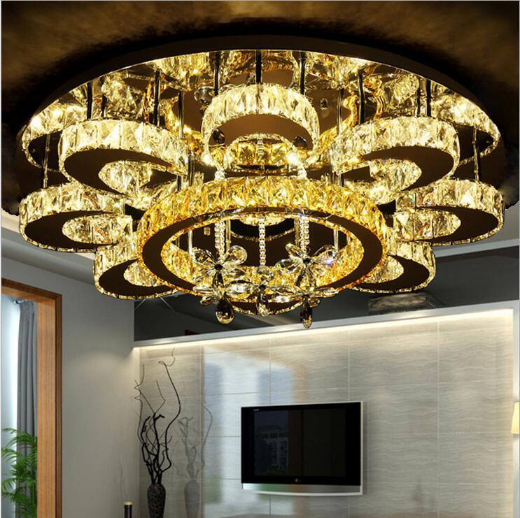New crystal lamp round living room lights atmospheric bedroom lights led ceiling lamps simple modern restaurant lighting lamps