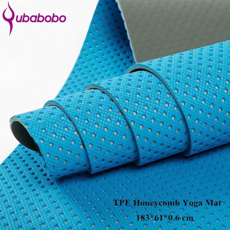 QUBABOBO 6MM TPE हनीकॉम्ब योग मैट - स्वास्थ्य और शरीर सौष्ठव