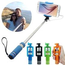 Mini portátil plegable teléfono móvil con cable auto selfie palos para ios y android incorporado obturador selfie monopod trípode regalos rainbow