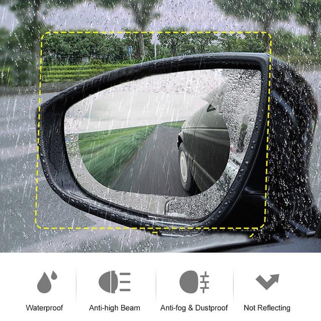 2 adet araba yağmur geçirmez Film dikiz aynaları anti sis su geçirmez otomatik ayna koruyucu Film yağmur geçirmez araba aksesuarları
