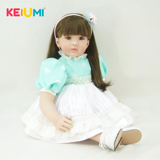 KEIUMI 100% Handmade Reborn Baby Dolls Realistic Princess 24 Inch Silicone Baby Doll Toys For Girl Birthday Gifts PP Cotton Body 60 cm ethnic reborn baby girl dolls pp cotton body realistic 24 inch classical princess silicone doll baby reborn for kids toy