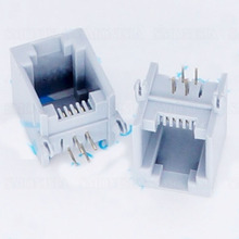 50pcs - 5000pcs RJ11 Socket Grey Elbow Pin 90 Degree 5521-6P4C Phone Crystal Head