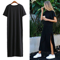 [Chicever] verão fenda alta longo t shirt mulheres sex dress mangas curtas preto roupa nova moda