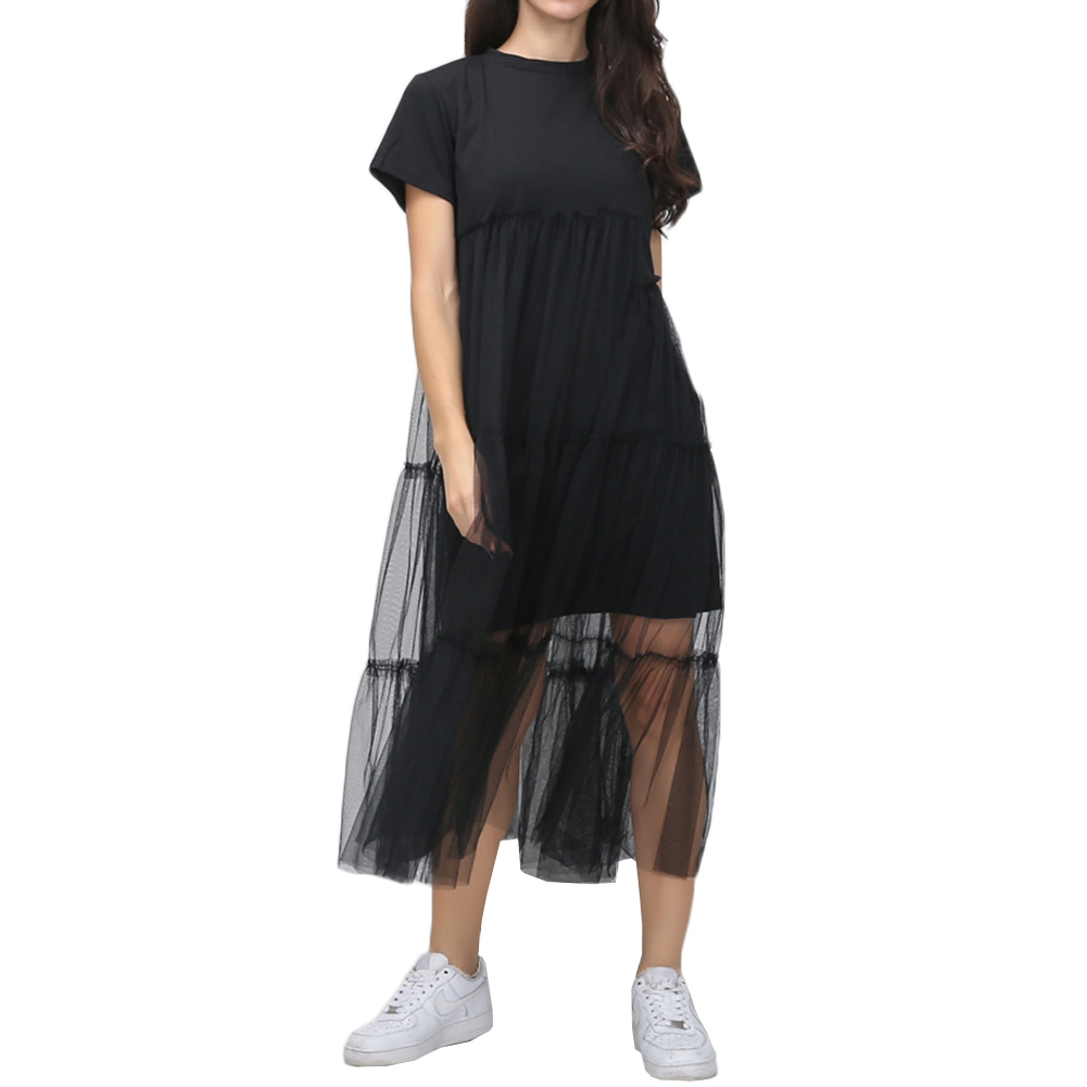 Summer Korean Splicing Pleated Tulle T shirt Dress Women Big Size Black Color Clothes New Fashion 2017