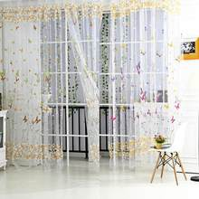 Butterfly Floral Tulle Voile Window Curtain Roman Shades Blinds Embroidered Sheer Kitchen Living Room Panel Rose Green Romantic(China)